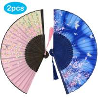 Leehome Folding Hand Fans for Women -Chinese Japanese 2pcs Vintage Bamboo Silk Fans - for Dance, Music Festival, Wedding, Party, Decorations, Gift. (Blue Butterfly & Pink Sakura)