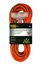 GoGreen Power GG-15200 12/3 100' 3-Outlet Heavy Duty Extension Cord - Lighted End