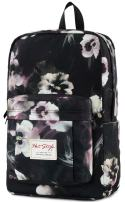 599s Floral College Backpack, Water Resistant Book Bag for School Girls & Women, fits 15.6-inch Laptop, Black