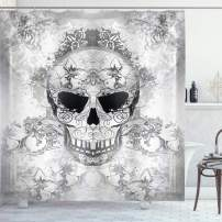 """Ambesonne Day of The Dead Shower Curtain, Skull with Oriental Paisley Motifs Celebration Print, Cloth Fabric Bathroom Decor Set with Hooks, 75"""" Long, Grey White"""