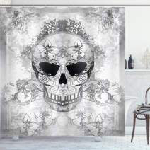 "Ambesonne Day of The Dead Shower Curtain, Skull with Oriental Paisley Motifs Celebration Print, Cloth Fabric Bathroom Decor Set with Hooks, 75"" Long, Grey White"