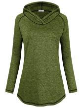 Faddare Womens Long Sleeve Lightweight Activewear Seamless Hoodie Sweatshirt (Medium, Green)