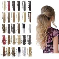 """Ponytail Extension Wrap Around 18"""" 24"""" Synthetic Drawstring Hair Piece Clip in Hair extensions Ash Blonde Mix Ginger Brown"""