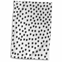 3D Rose Dalmation Spots Dogs Animal Print Black and White Hand/Sports Towel, 15 x 22
