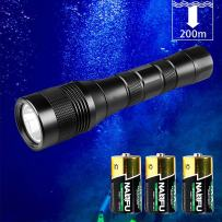 Odepro WD40 1050lumens Diving Flashlight 200m Underwater Torch with Rotary Switch, 3PCS C Battery Included
