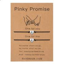 SANNYRA Pinky Promise Bracelets Friendship Couple Distance Matching Bracelet 26 Letters Alphabets Gifts for Her 2 Pieces,Valentine's Day Gifts