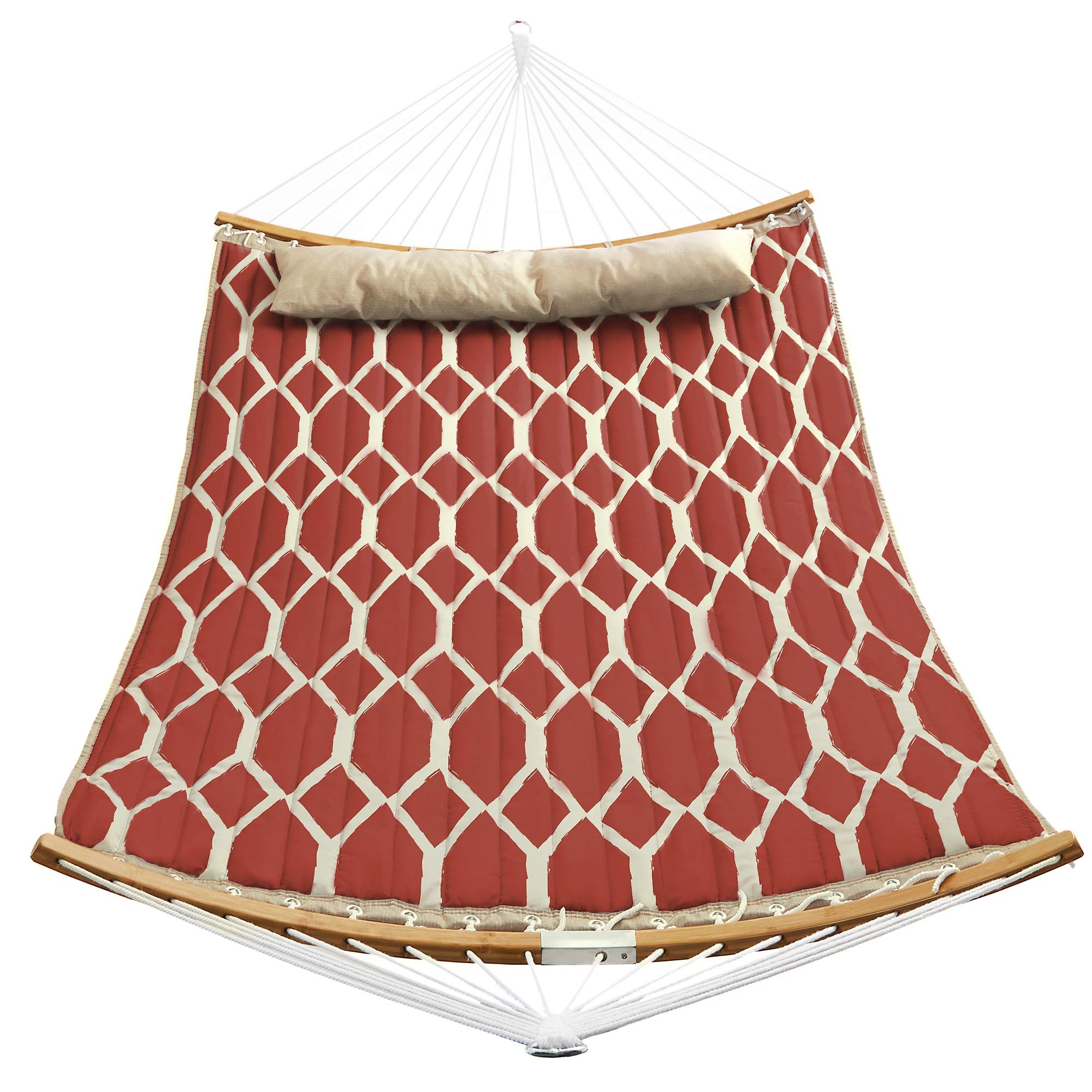 SONGMICS Hammock, Quilted Hammock with Curved Bamboo Spreaders, Pillow, 78.7 x 55.1 Inches, Portable Padded Hammock Holds up to 495 lb, Red and Beige Rhombus UGDC034R02