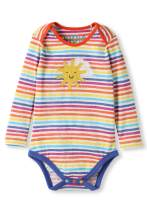 Organic Cotton Baby Bodysuit Girl Boy - Sunshine Applique Rainbow Stripes (0-3 Years)