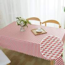 OUDMON Tablecloth PVC Rectangle Table Cloth Oil-Proof Waterproof Wrinkle Free Durable Table Cover for Decorative Kitchen Party Buffet Picnic Dining Red Plaid Desk Cloth 54''X87''