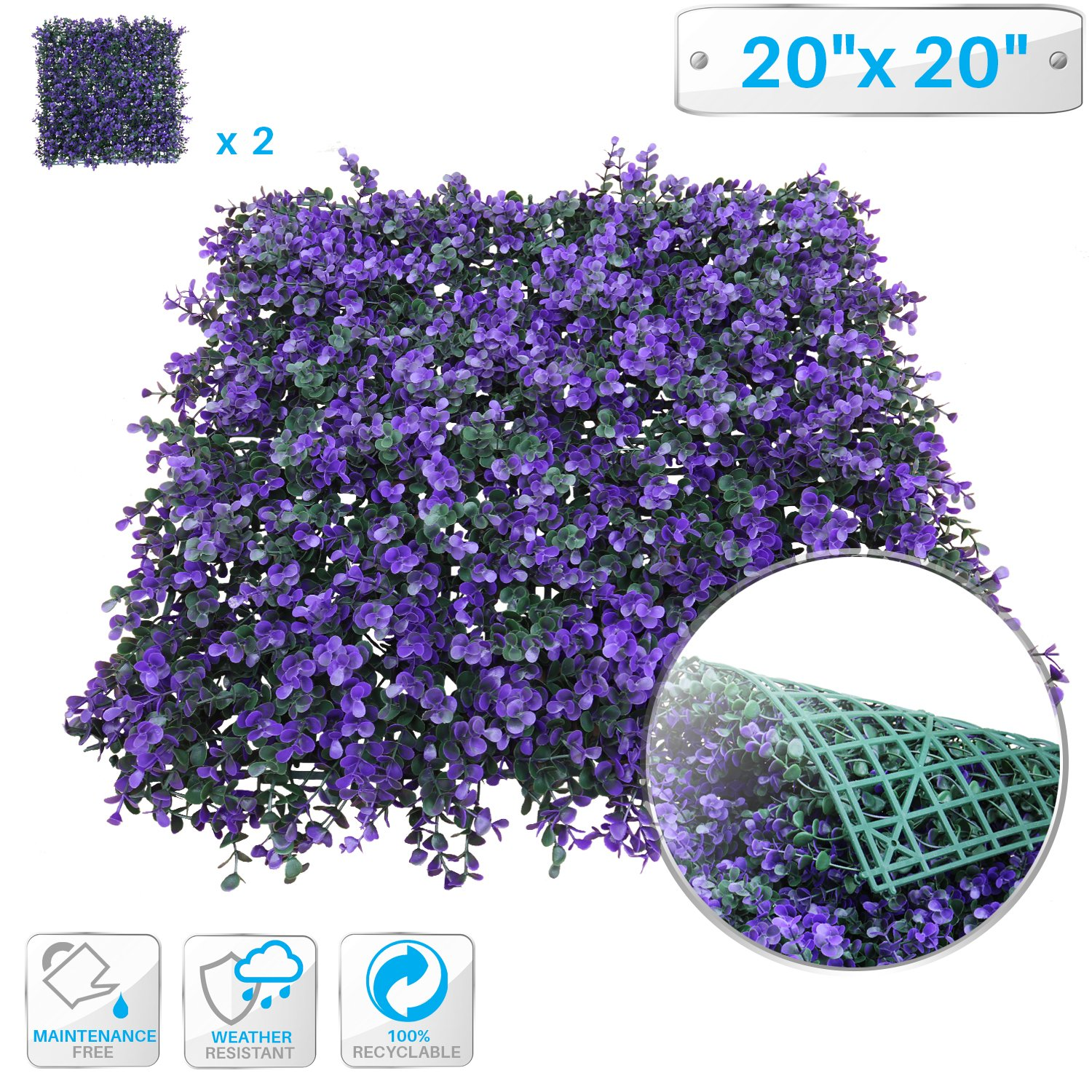 """Patio Paradise 2pcs 20""""x20"""" Artificial Purple Lavender Hedge Panel, Decorative Privacy Fence Screen Greenery Faux Plant Tree Wall for Indoor or Outdoor Garden Décor"""
