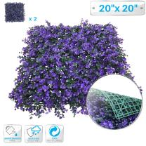 "Patio Paradise 2pcs 20""x20"" Artificial Purple Lavender Hedge Panel, Decorative Privacy Fence Screen Greenery Faux Plant Tree Wall for Indoor or Outdoor Garden Décor"