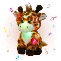 Glow Guards 12'' Musical Light up Giraffe Stuffed Animals Soft Plush Toy with LED Night Lights Nursery Songs Glow Wildlife Birthday Christmas for Toddler Kids