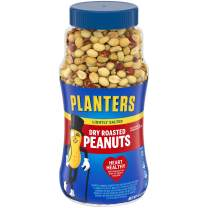 PLANTERS Lightly Salted Dry Roasted Peanuts, 16 oz. Resealable Jars (Pack of 2) - Peanut Snack - Great Movie Snack, Active Lifestyle Snack and Party Size Snack - Kosher Peanuts