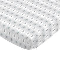 NoJo Aztec Mix & Match 100% Cotton Elephants Fitted Crib Sheet, Grey, White, Aqua