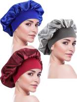 Blulu 3 Pieces Sleep Cap Satin Bonnet Night Head Cover Sleeping Soft Hair Turbans for Women and Girls (Style Set 6)