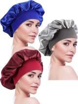 Blulu 3 Pieces Sleep Cap Satin Bonnet Night Head Cover Sleeping Soft Hair Turbans for Women and Girls (Style Set 6)