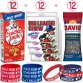 48 Baseball Snacks & Favors - 12 Cracker Jack Boxes (1 oz), 12 Big League Chew Bubble Gum (2.12 oz), 12 David Sunflower Seeds (1.625 oz). 12 Rubber Bracelets featuring MLB & Baseball Themes