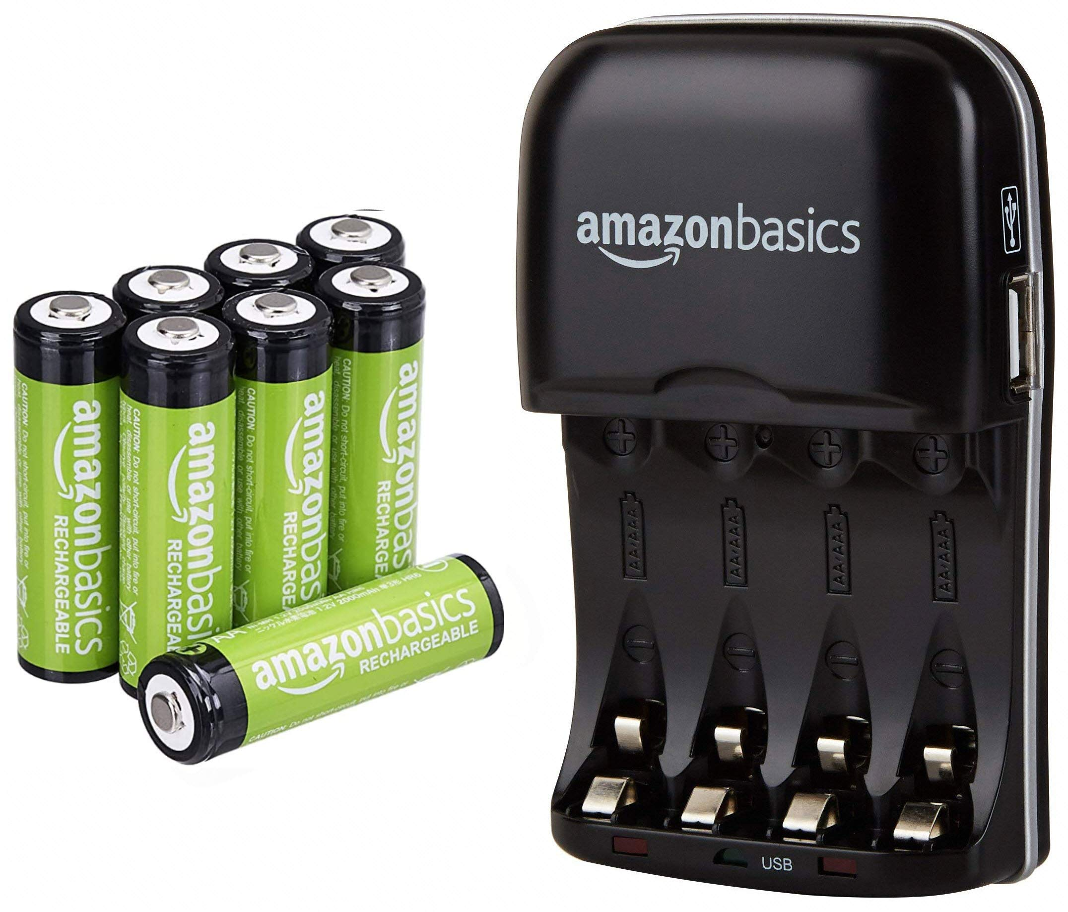 AmazonBasics AA Rechargeable Batteries (8-Pack) and Ni-MH AA & AAA Battery Charger With USB Port Set