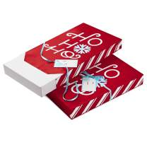 Hallmark Christmas Gift Wrap Sleeve Bundle - Ho Ho Ho, Red and White (2 Shirt Boxes, 2 Wrap Sleeves, 2 Ribbons, 2 Gift Tags)