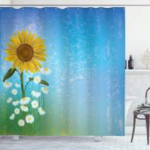 """Ambesonne Sunflower Shower Curtain, Grunge Floral Illustration with Sunflower and Chamomiles Pastel Summer Art, Cloth Fabric Bathroom Decor Set with Hooks, 70"""" Long, Blue Yellow"""