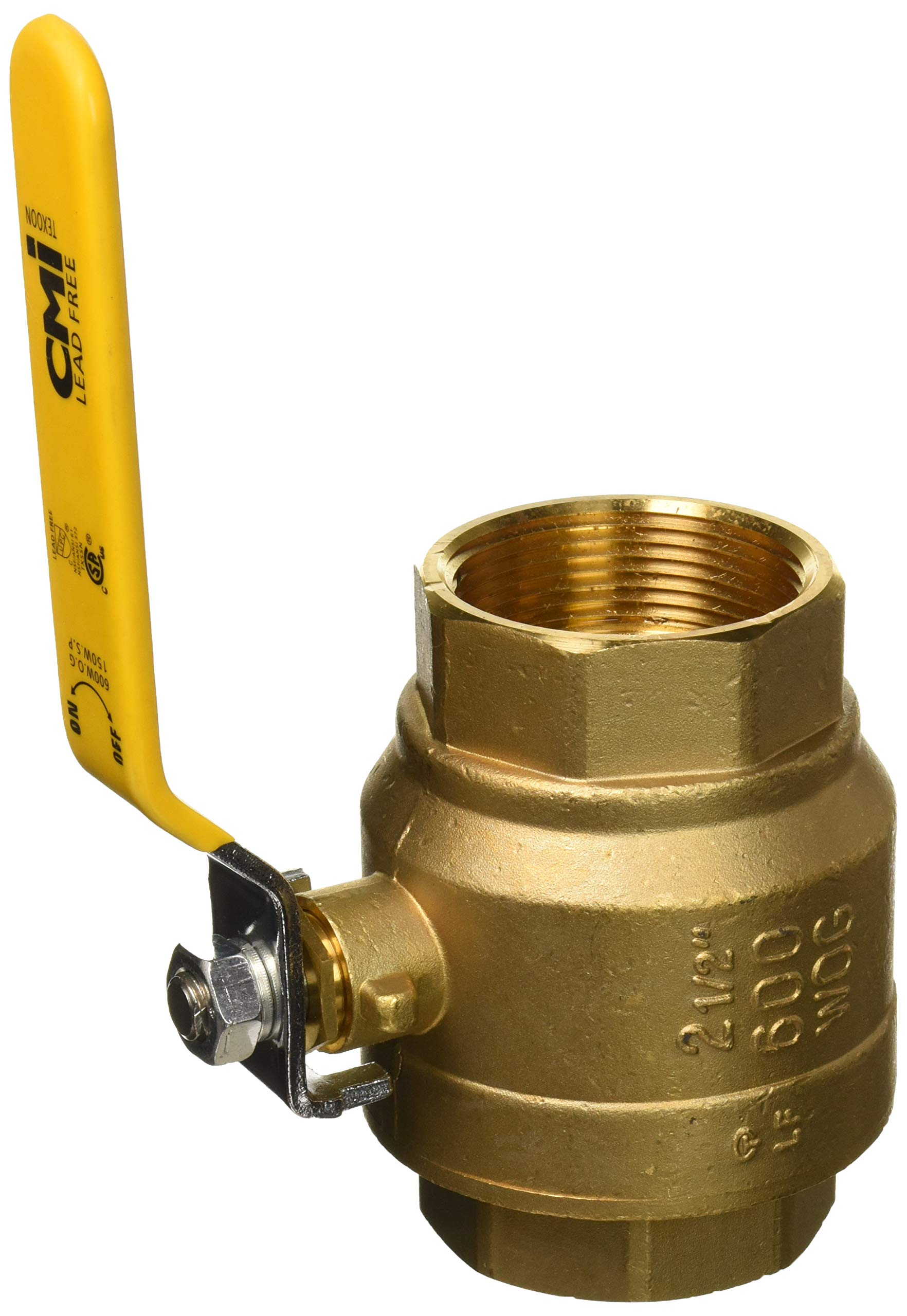 """2-1/2"""" Brass Ball Valve Threaded - IPS Full Port Irrigation Water Valves - Mechanical Lead Free Lever Handle 2 1/2-Inch Female Thread Inline Steam Oil 600 WOG Supplies Hot Cold Pipes CSA ApprovedF"""