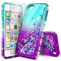 iPod Touch 7 Case, iPod Touch 5/6 Case with Premium HD Screen Protector for Girls, NageBee Glitter Sparkle Liquid Floating Durable Clear Cute Case for iPod Touch 7th/6th/5th Generation -Aqua/Purple