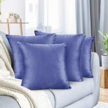 "Nestl Bedding Throw Pillow Cover 26"" x 26"" Soft Square Decorative Throw Pillow Covers Cozy Velvet Cushion Case for Sofa Couch Bedroom, Set of 4, Calm Blue"