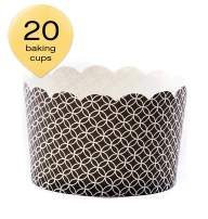Simply Baked Jumbo Paper Baking Cups Black Medallion 20-Pack Disposable and Oven-safe