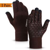 COOYOO Winter Gloves for Women and Men,Touchscreen Gloves,Knit Wool,Running Gloves,Anti-Slip Silicone Gel - Elastic Cuff - Thermal Soft Wool Lining