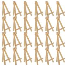 "U.S. Art Supply 5"" Mini Natural Wood Display Easel (Pack of 24), A-Frame Artist Painting Party Tripod Easel - Tabletop Holder Stand for Small Canvases, Kids Crafts, Business Cards, Signs, Photos, Gift"