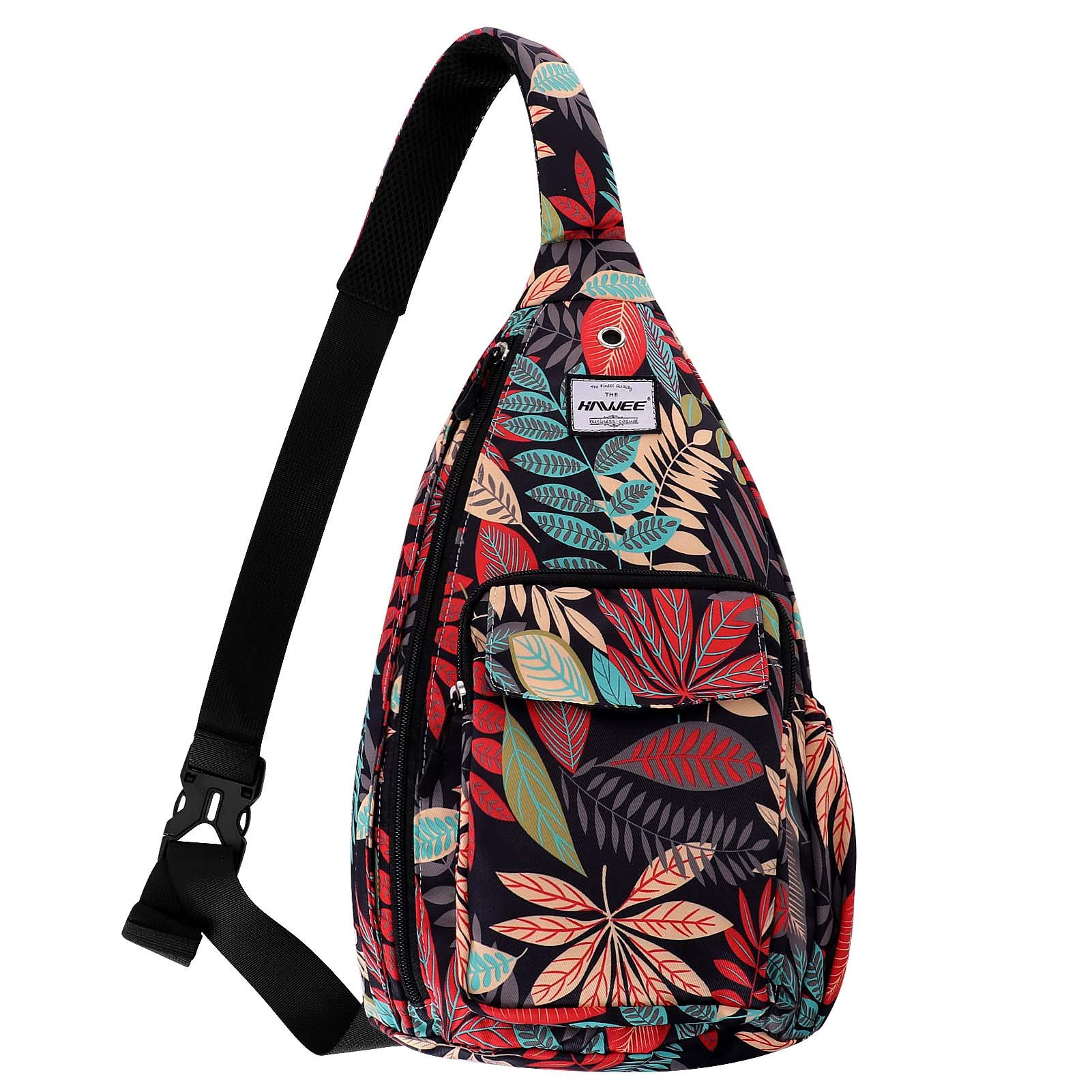 HAWEE Sling Bag for Women Anti-Water Crossbody Backpack Inclined Shoulder Daypack with Adjustable Strap, Maple Red
