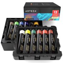 ARTEZA Acrylic Paint, Set of 12 Colors/Tubes (22 ml/0.74 oz.) with Storage Box, Rich Pigments, Non Fading, Non Toxic Paints for Artist, Hobby Painters & Kids, Ideal for Canvas Painting