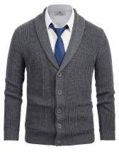 PAUL JONES Men's Shawl Lapel Cardigan Sweater Thicken Casual Jacket with Pocket