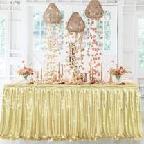 6ft Champagne Sequin Table Skirts for Rectangle Tables or Round Tables Ruffle Sequin Tablecloth for Wedding Baby Shower Boy Girl Birthday Party Banquet Table Decorations(L6(ft) H 30in, Champagne)