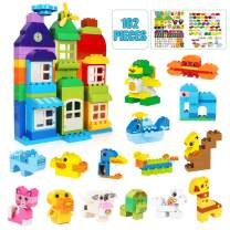 162 PCS STEM Building Blocks Educational Construction Building Bricks Set for Ages 3yr-6y Boys & Girls DIY Classic Toy Bricks, Best Compatible Blocks Toy Gift for Kids Toddlers Creative Fun Kit