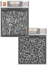 CrafTreat Crackle Stencils for Painting on Wood, Canvas, Paper, Fabric, Wall and Tile - Woodgrain and Crackle - 2 Pcs - 6x6 Inches Each - Reusable DIY Art and Craft Stencils - Woodgrain Stencils