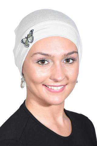 Landana Headscarves Ladies Chemo Hat with Green Butterfly Bling
