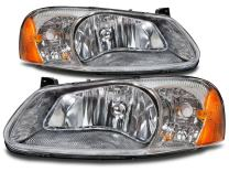 HEADLIGHTSDEPOT Chrome Housing Halogen Headlights Compatible with Chrysler Dodge Sebring 4 Door Sedan Stratus Includes Left Driver and Right Passenger Side Headlamps