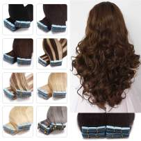 S-noilite 18 inch 50g 20pcs Tape in Human Hair Extensions Invisible Rooted Skin Weft Natural Real Human Hair Extensions Tape in For Beauty Highlighted Ombre Balayage Hair #2 Dark Brown