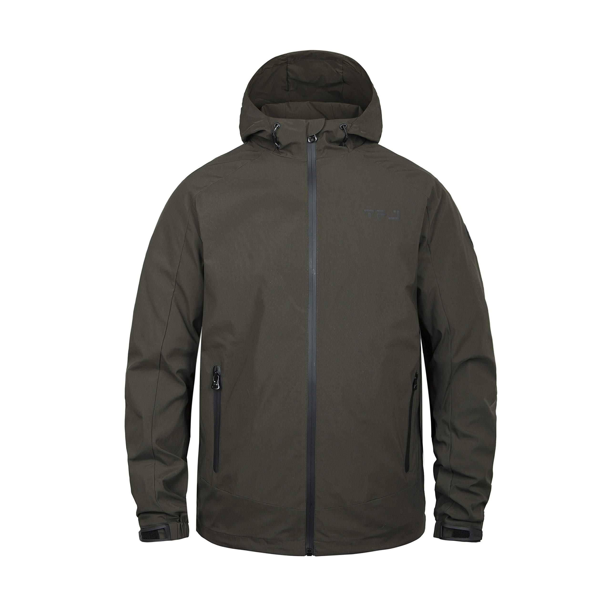 TIGER FORCE Mens Windbreaker Hooded Sweater Jacket Waterproof Running Rain Coat Active Softshell