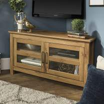 """Walker Edison Furniture Company Modern Farmhouse Wood Corner Universal Stand for TV's up to 50"""" Flat Screen Living Room Storage Entertainment Center, Barnwood Brown"""
