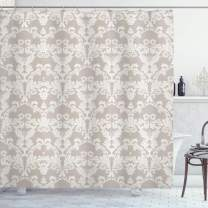 "Ambesonne Taupe Shower Curtain, Nature Garden Themed Pattern with Damask Imperial Tile Rococo Inspired, Cloth Fabric Bathroom Decor Set with Hooks, 70"" Long, Taupe and White"