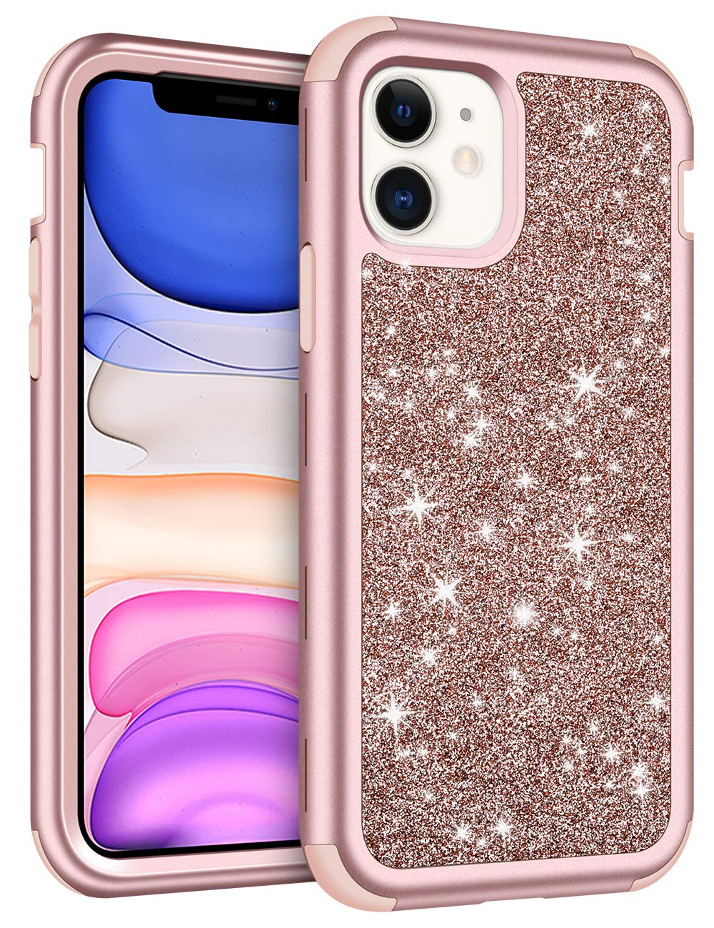 Vofolen Cover for iPhone 11 Case with Front Bumper Bling Glitter Shiny Full-Body Protection Hybrid Protective Hard Shell Soft Silicone TPU Rubber Bumper Armor Case for iPhone 11 6.1 inch Rose Gold