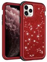 Vofolen for iPhone 11 Pro Max Case with Front Bumper Bling Glitter Shiny Full-Body Protection Hybrid Protective Hard Shell Soft Silicone TPU Rubber Bumper Armor Case for iPhone 11 Pro Max Red