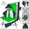 Linco Lincostore Photo Studio Lighting Kit with 3 Color Muslin Backdrop Stand Photography Flora X Fluorescent 4-Socket Light Bank and Auto Pop-Up Softbox - Only Takes 3 Seconds to Set-up AM173