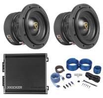 "(2) Rockville W65K9D4 6.5"" Car Audio Subwoofers+Kicker Mono Amplifier+Amp Kit"