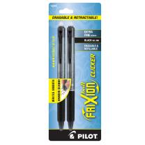 PILOT FriXion Clicker Erasable, Refillable & Retractable Gel Ink Pens, Extra Fine Point, Black Ink, 2-Pack (32500)