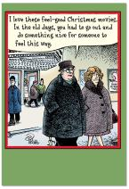 12 'Movies' Boxed Christmas Cards with Envelopes 4.63 x 6.75 inch, Hilarious Christmas Cartoon Holiday Notes, Funny Man and Woman at the Movies Christmas Cards, Silly Christmas Stationery B5888