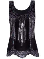 VIJIV Womens 1920s Vintage Beaded Tops Art Deco Sleeveless Embellished Sparkly Sequin Vest Tank Top