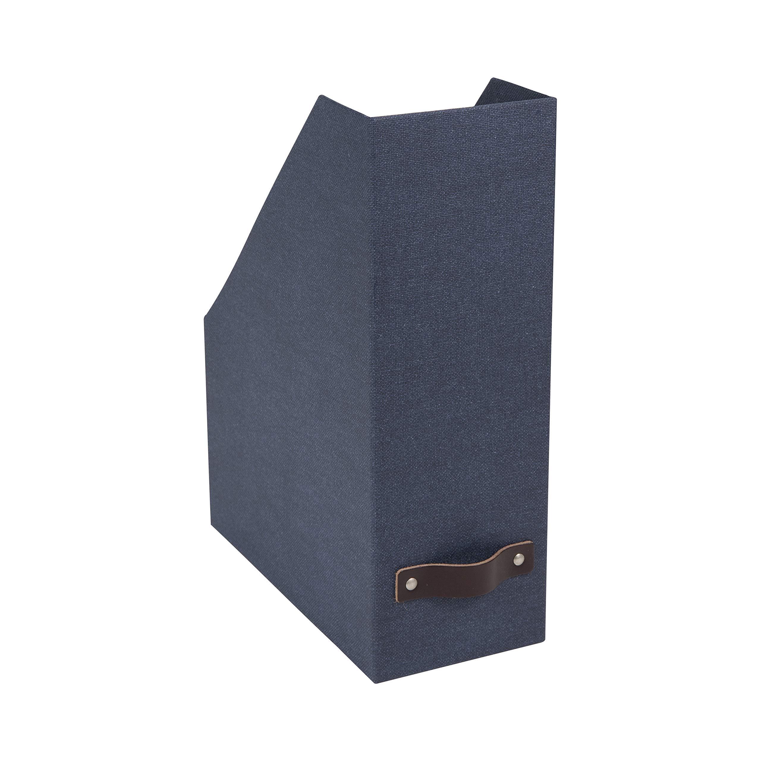 Bigso Estelle Canvas Fiberboard Upright Magazine Storage Box, 12.6 x 4.5 x 9.8 in, Blue